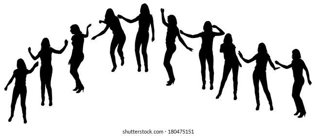 Vector silhouette of a woman who dance on a white background.