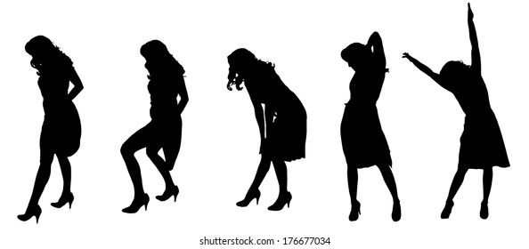 Vector silhouette of a woman who dances in a dress on a white background.