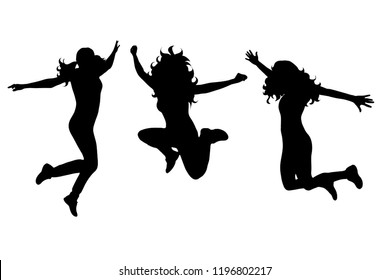 Vector silhouette of woman who jumps on white background.