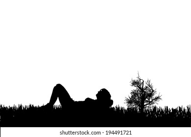 Vector silhouette of a woman who laying in the grass..