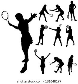 Vector silhouette of a woman who plays tennis.