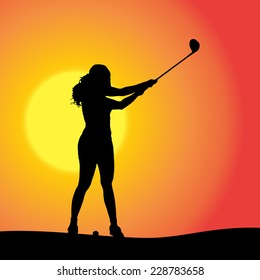 Vector silhouette of the woman who plays golf at sunset.