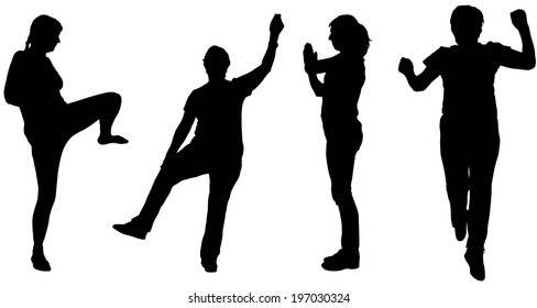Vector silhouette of a woman who practices on white background.