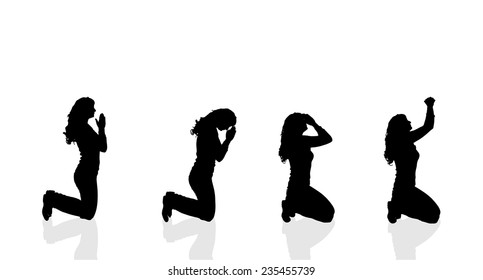 Vector silhouette of a woman who prays on a white background.