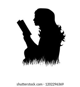 Vector silhouette of woman who read book on the grass on white background.