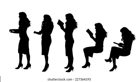 Vector silhouette of woman who reads a book.