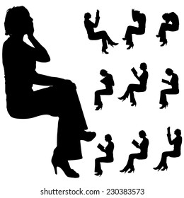 Vector silhouette of woman who sits on white background.