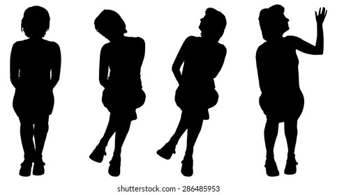 Vector silhouette of a woman who is sitting on a white background.