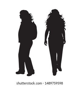 Vector silhouette of woman who walk with backpack on white background. Symbol of girl, sport, hike, fat, obese.