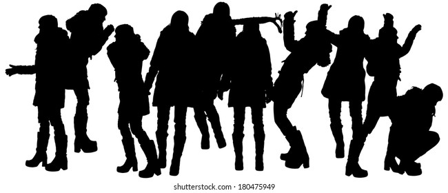 Vector silhouette of woman in winter clothes on a white background.