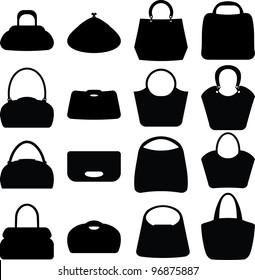 Vector silhouette women bags