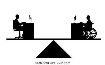 Vector silhouette of a worker disabled in a wheelchair and the employee sitting at the table, they are equal on the scales of rights. Conceptual scene, element for design