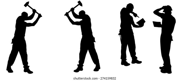 Vector silhouette of a worker on white background.