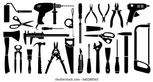 Vector silhouette working tools collection for construction and repair