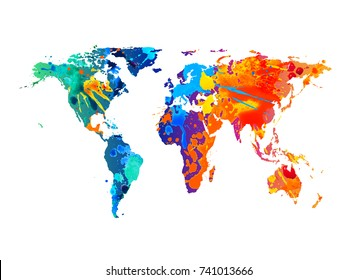 Vector silhouette of world map. Watercolor splash paint