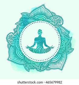 Vector silhouette of yoga Lotus pose-Padmasana with swirls and watercolor background