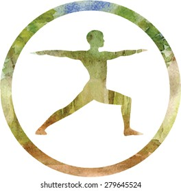 Vector silhouette of yoga man in circle frame with watercolor trees texture