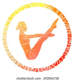 Vector silhouette of yoga woman in circle frame with bright orange and yellow watercolor texture. Freehand drawn doodle details and abstract ornament. Boat pose.