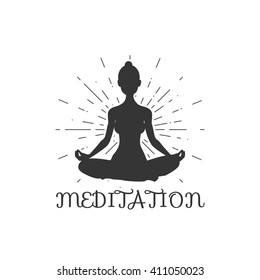 Vector silhouette of yoga woman. Lotus  yoga pose - Padmasana. Vector Yoga Pose .  Women meditation. Fitness and gym. Sport.
