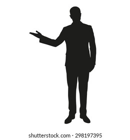 Vector silhouette of a young man in a suit during presentation