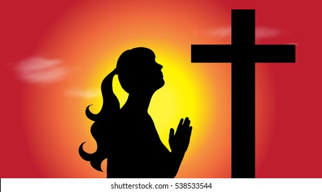Vector silhouette of young woman who praying at sunset.
