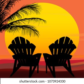 Vector silhouetted chairs and palms in front of a large yellow, orange, gold sun with colorful background.
