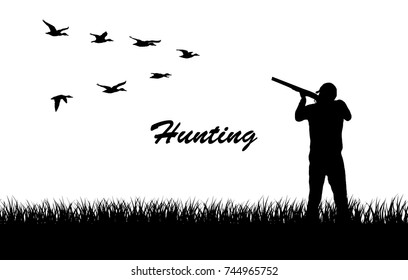 Vector silhouette.Hunting for ducks