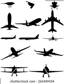 vector silhouettes of aircraft. planes biplane, helicopter, civilian, military, bomber
