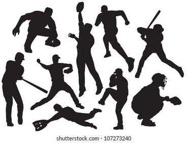 the vector silhouettes of baseball players