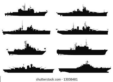 Vector silhouettes of battleships.