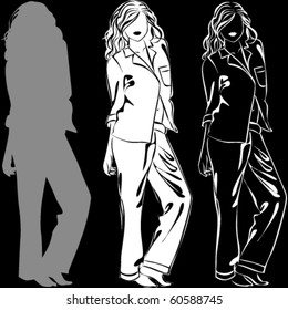 Vector silhouettes of beautiful woman in pajama isolated on black background