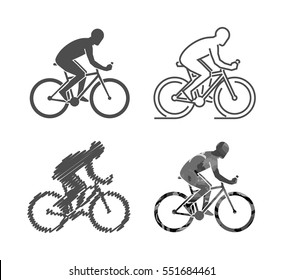 Vector silhouettes of bicycle. Set of modern cyclist figures.