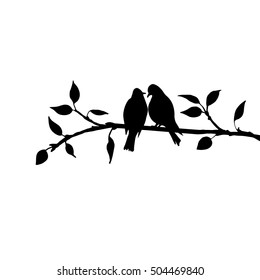 vector silhouettes of birds at tree, hand drawn songbirds at branch, Valentine's symbol, a pair of lovers, isolated vector element