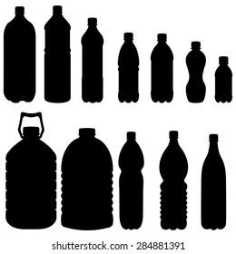Vector Silhouettes of Black Plastic Bottles