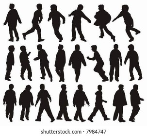 Vector silhouettes of Boys in action