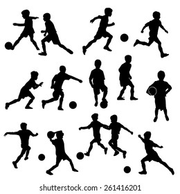 vector silhouettes of boys playing soccer or football