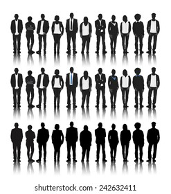 Vector of Silhouettes of Business People