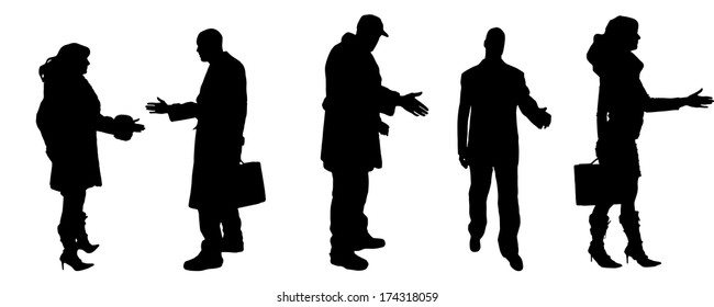 vector Silhouettes of businessman with a handshake