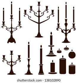 vector silhouettes of candles