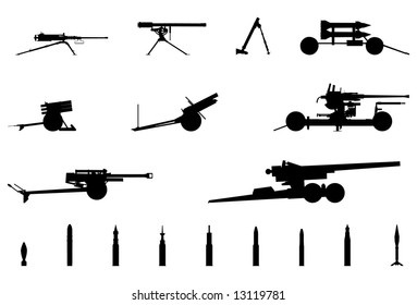 Vector silhouettes of Cannons, Mortar and Grenades.