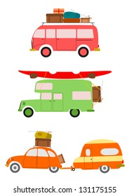 Vector. Silhouettes of cars going on holiday on white background.