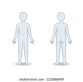 Vector silhouettes of child front and back view