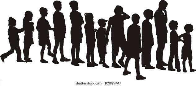 vector silhouettes children, standing in a row