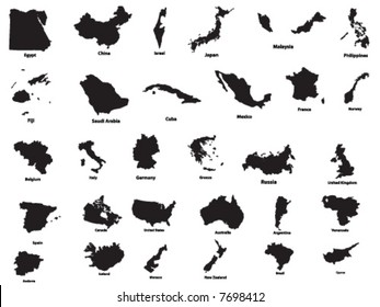 Vector silhouettes of countries(wit names)