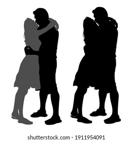 Vector silhouettes of a couple in love, a guy and a girl are hugging each other, kissing a man and a woman isolated on white background, two options, for the design of cards for Valentine's Day