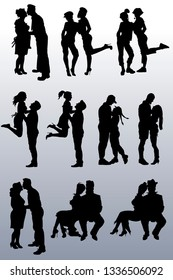 Vector silhouettes of couples. People dance, kiss, embrance, st or stand. Can be templates for the design of cards, banners, advertising.