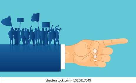 Vector of silhouettes of crowd protesters people with banners and megaphones standing on a politician hand indicating a direction. Concept of revolution or political strike