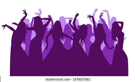 Vector silhouettes of a dancing girl. Eastern dance. A woman dressed in a long skirt is dancing