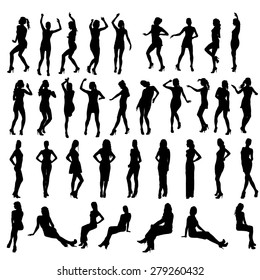 Vector silhouettes of dancing, standing and sitting women. Women in various poses.