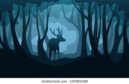 Vector silhouettes of deer and forest at early morning or night mistery illustration